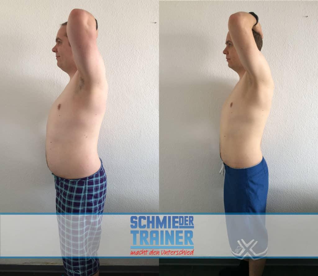 Änderung des Aussehens für Männer vor und nach dem Abnehmen